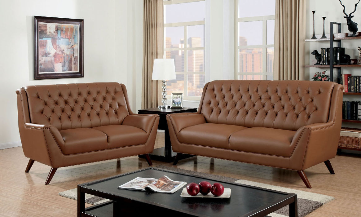 Leia Bonded Leather Match Camel Mid-Century Modern Sofa