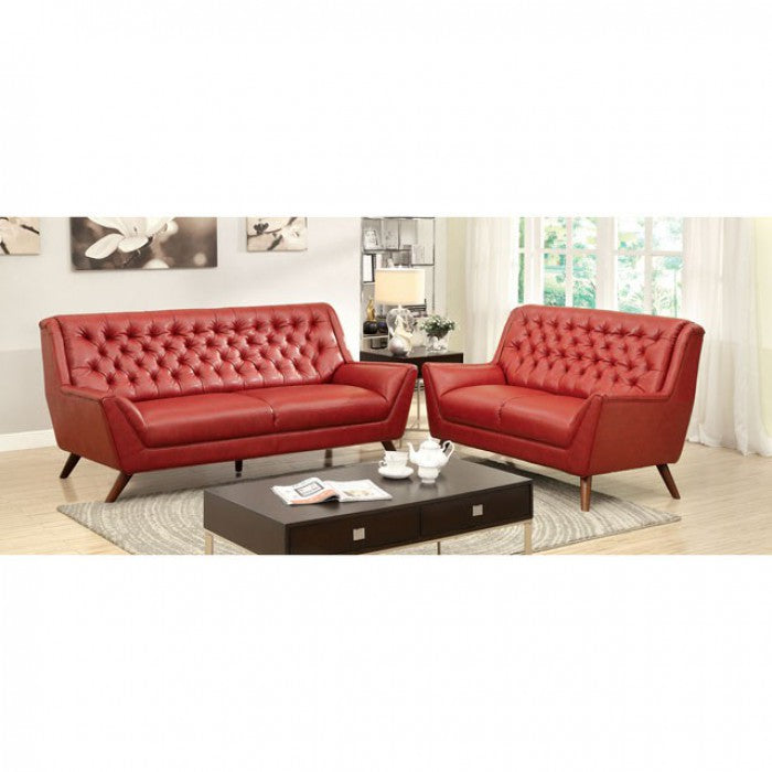 Leia Bonded Leather Match Red Mid-Century Modern Sofa