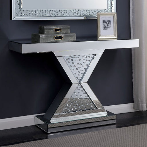 Lesedi Glass Silver Contemporary Console Table