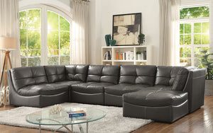 Libbie Gray Contemporary Leather Gel Modular  Sectional