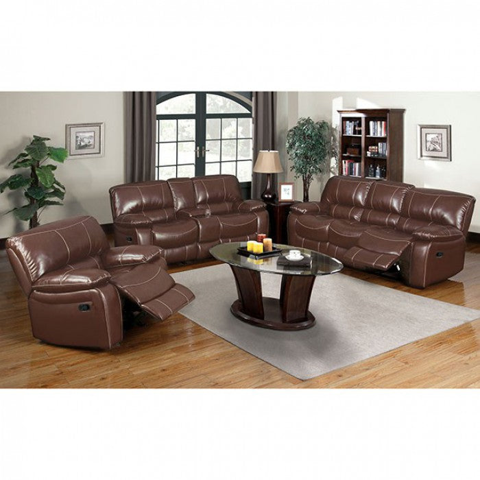Lichfield Bonded Leather Match Brown Transitional Sofa — Sofa Shack