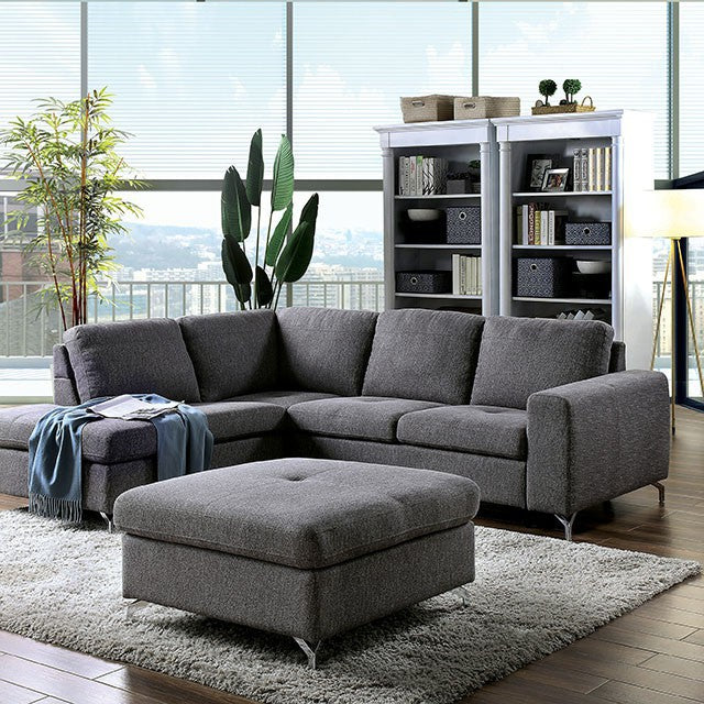 Lizzie Metal Legs Contemporary Linen Sectional