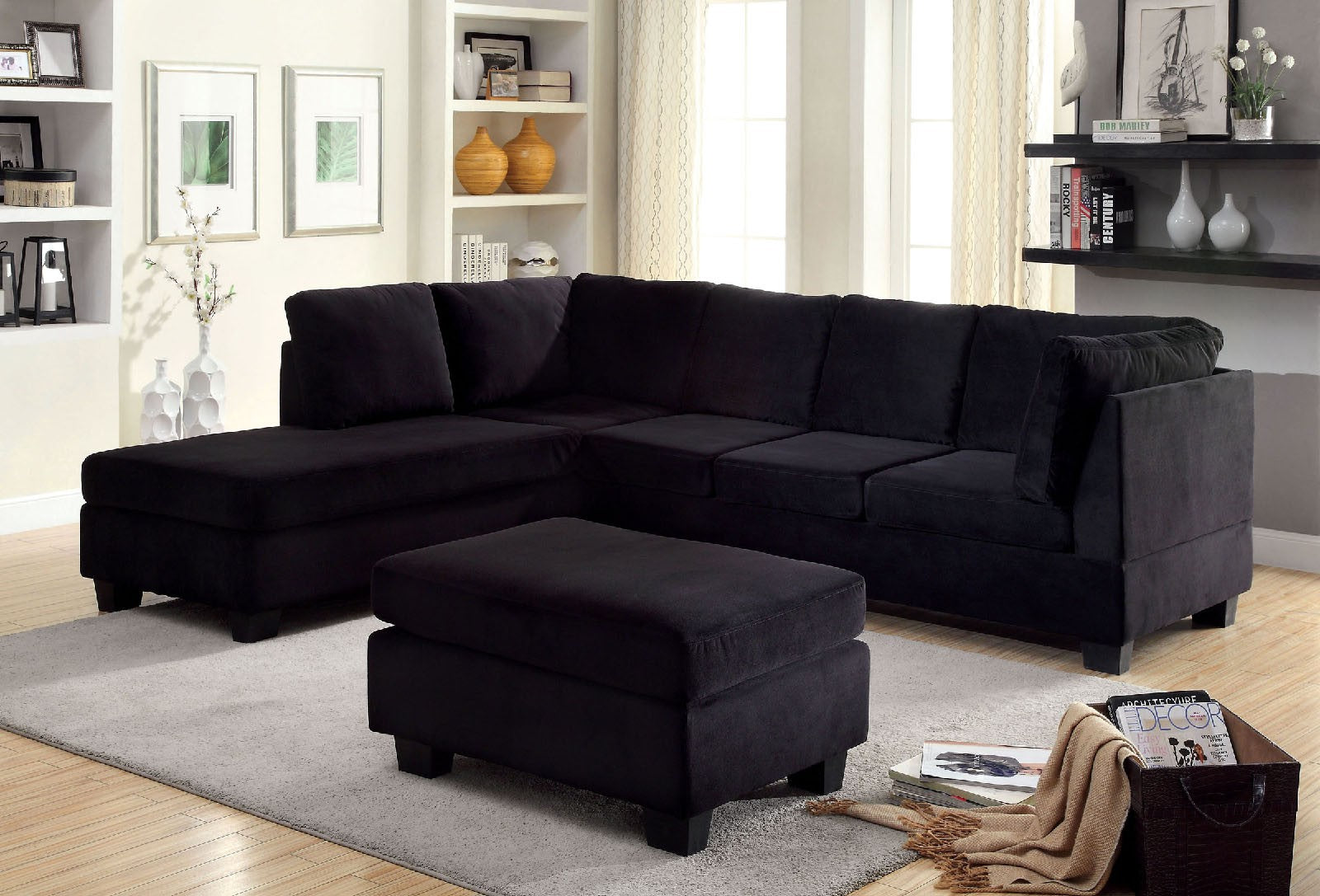 Lomma Black Contemporary Flannelette Fabric Plastic Leg Sectional