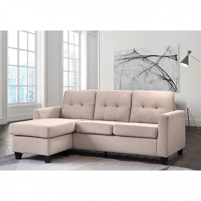 Macey Linen Beige Contemporary Solid Wood Sectional
