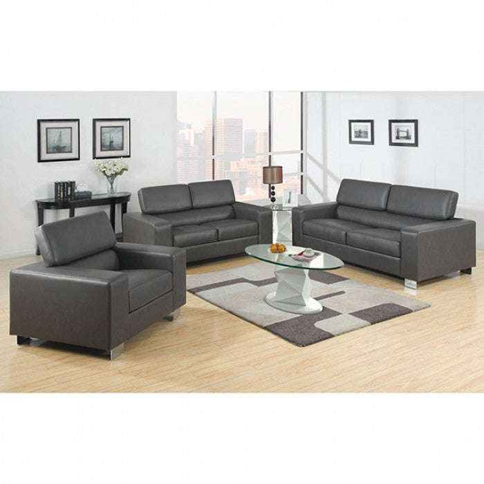 Makri Bonded Leather Match Gray Contemporary Sofa
