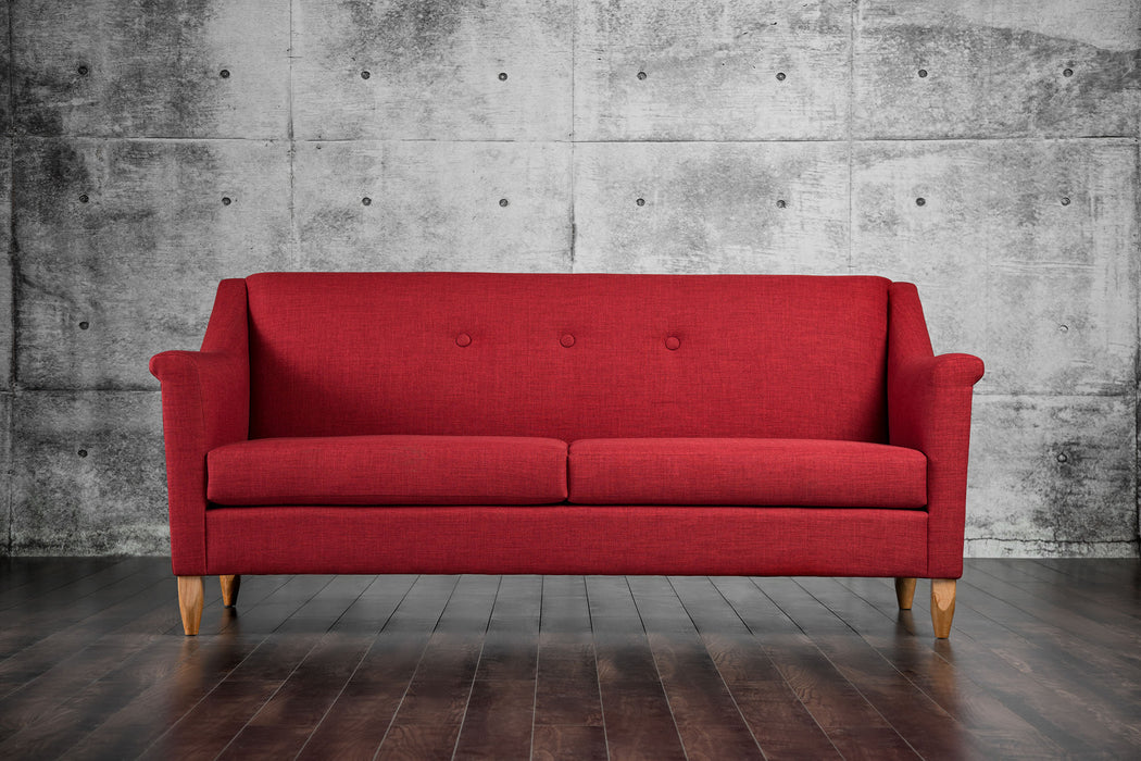 Mallory Fabric Red Mid-Century Modern Sofa