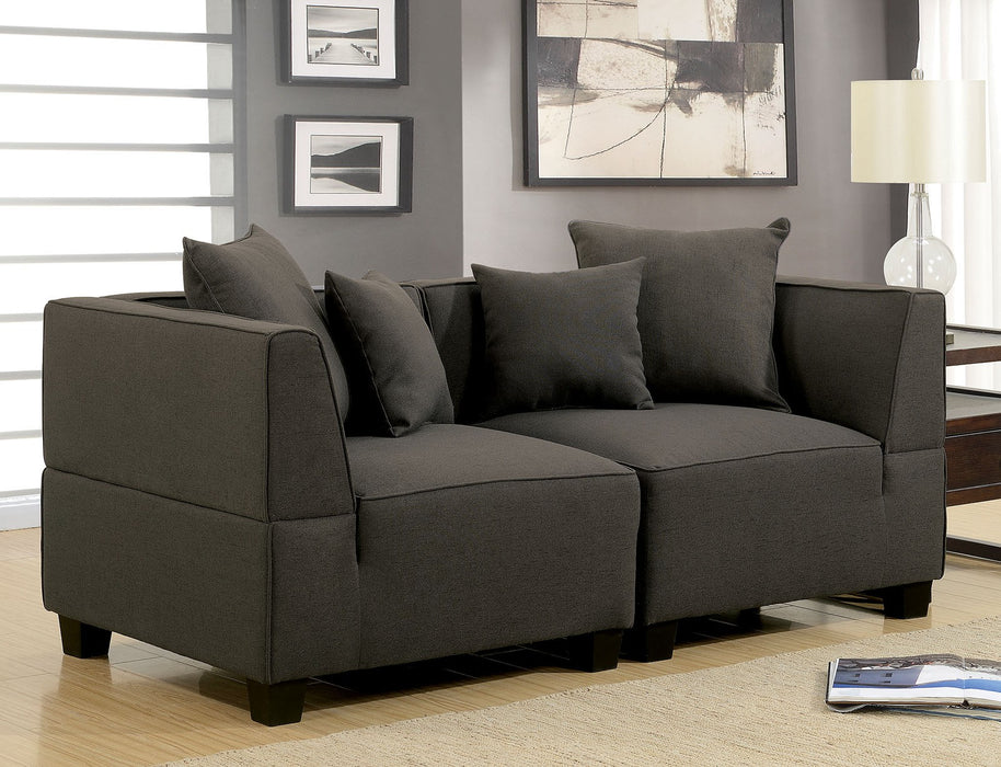 Marian Linen Dark Gray Transitional Contemporary 2 Love Seat Sectional