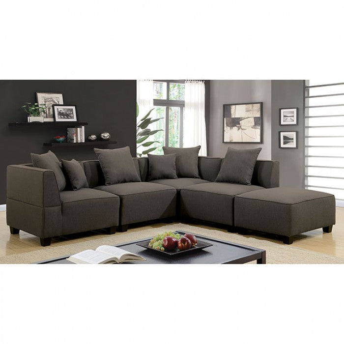 Marian Linen Dark Gray Transitional Contemporary 6 Seat Sectional
