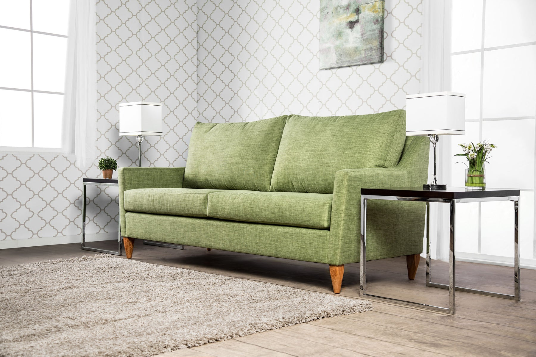 Marilyn Fabric Green Mid-Century Modern Sofa