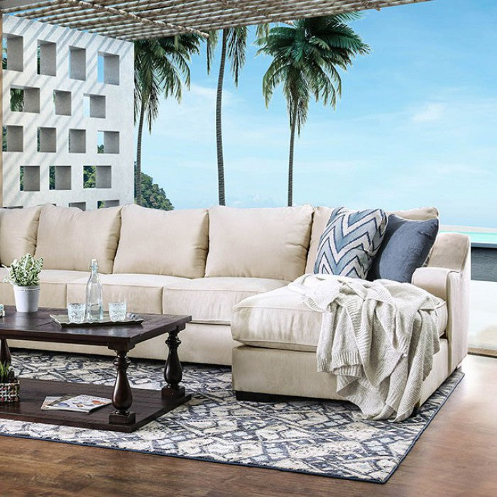 Marisol Ivory/Blue Transitional Solid Wood Sectional