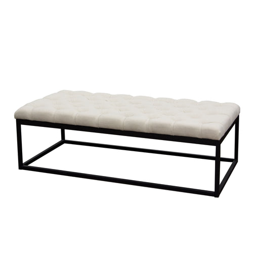 Mateo Black Powder Coat Metal Large Linen Tufted Bench - Desert Sand