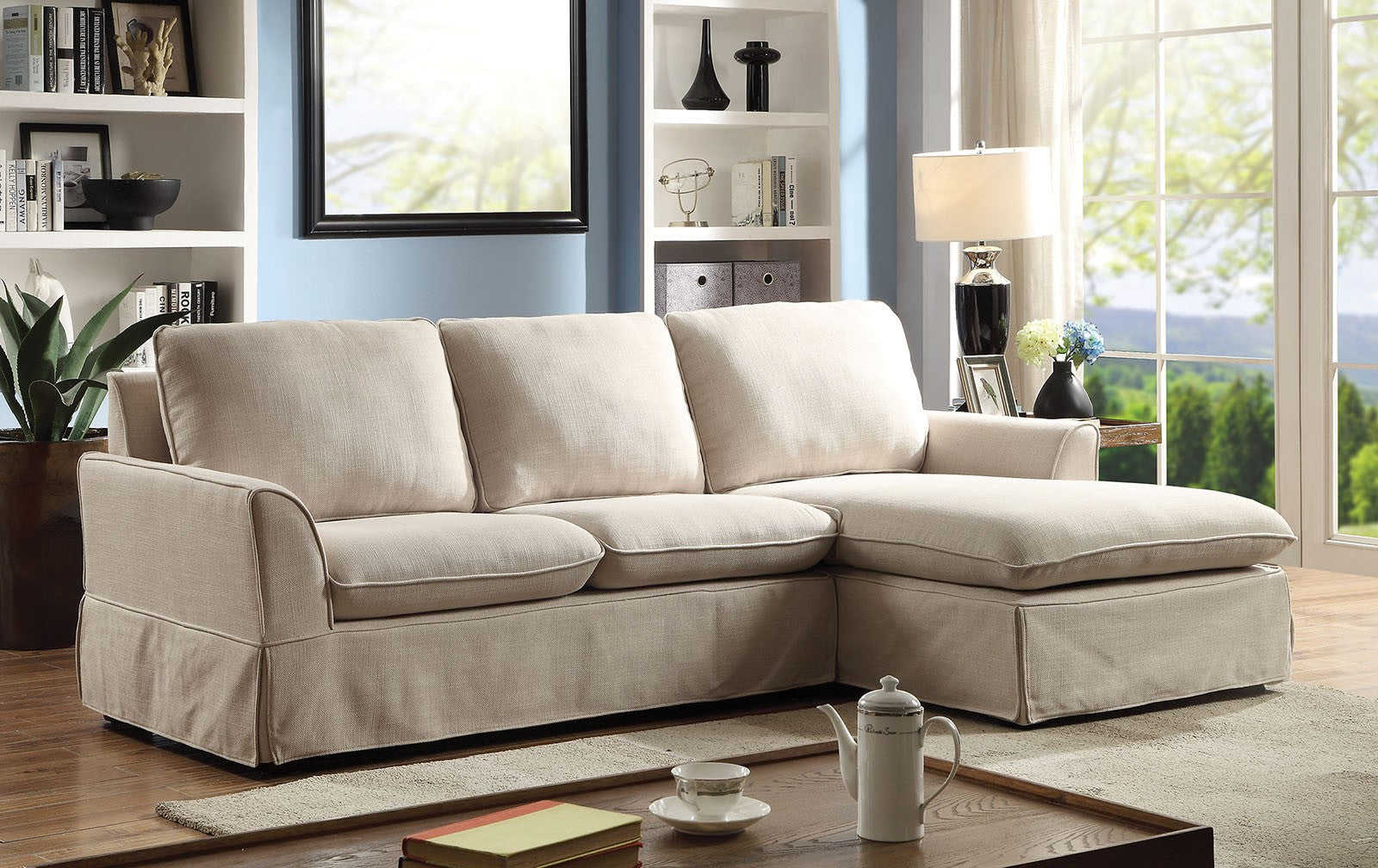 Maxine Ii Linen Beige Transitional Solid Wood Sectional
