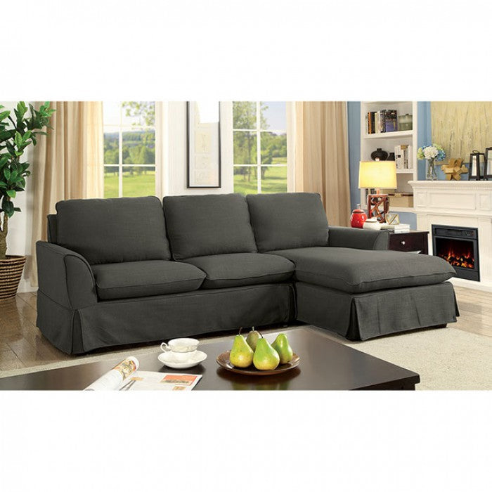 Maxine Ii Linen Gray Transitional Solid Wood Sectional