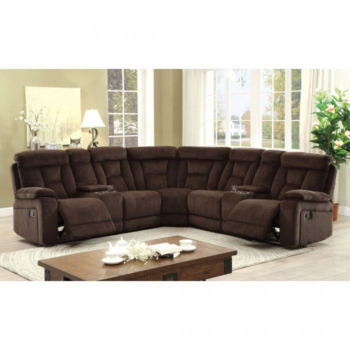 Maybell Chenille Brown Transitional Sectional With Consoles
