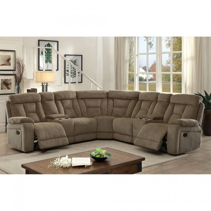 Maybell Chenille Mocha Transitional Sectional With Consoles