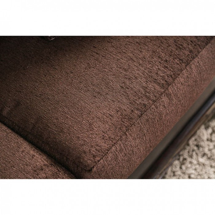 Midleton Leatherette Brown/Dark Cherry Transitional Sofa