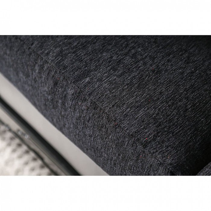 Midleton Leatherette Gray/Black Transitional Sofa
