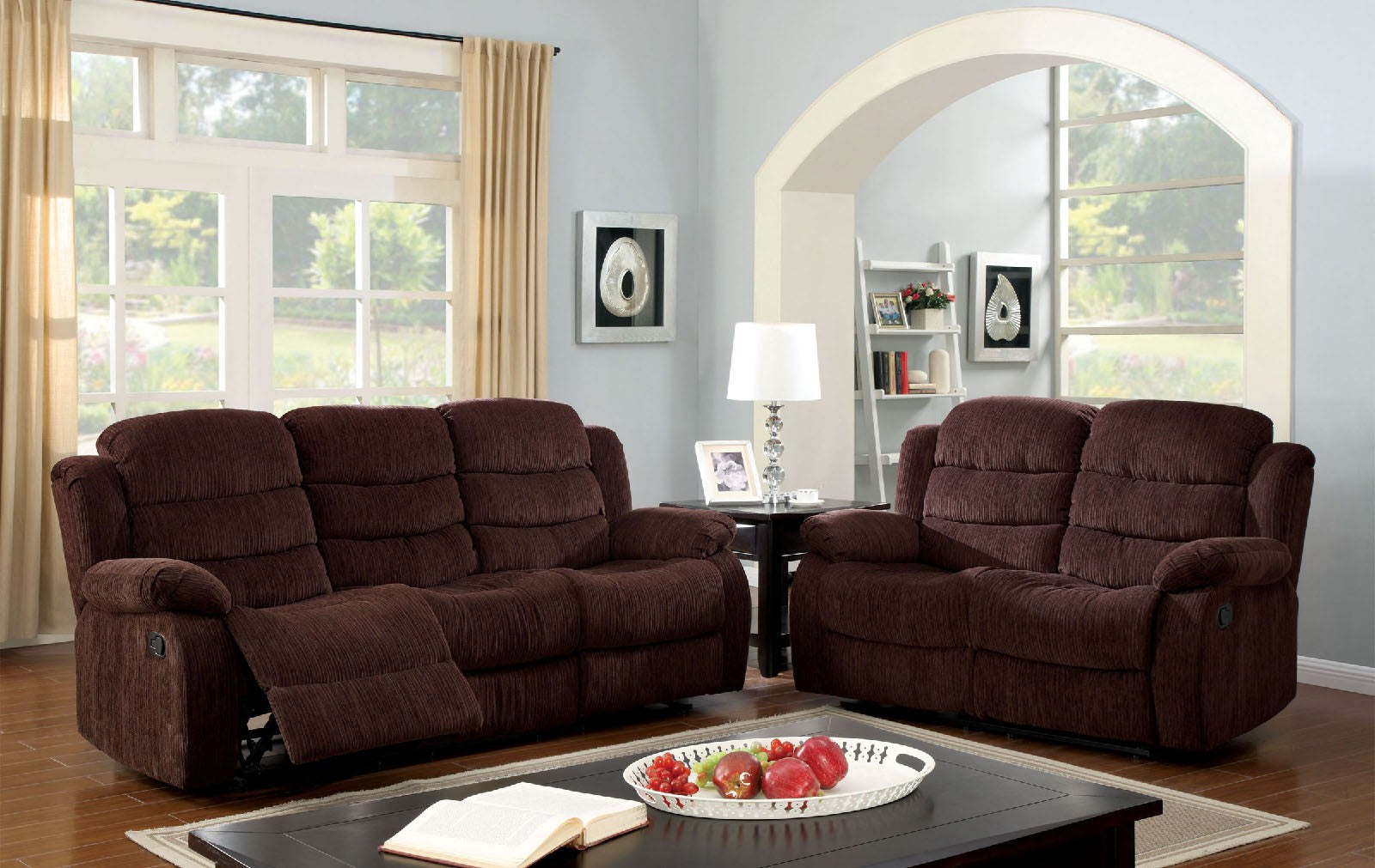 Millville Chenille Dark Brown Transitional Sofa