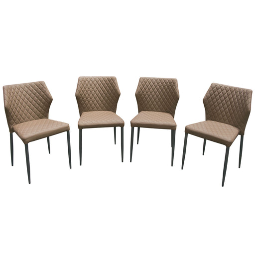Milo 4 Pack Dining Chairs In Coffee Diamond Tufted Leatherette With Black Powder Coat Legs