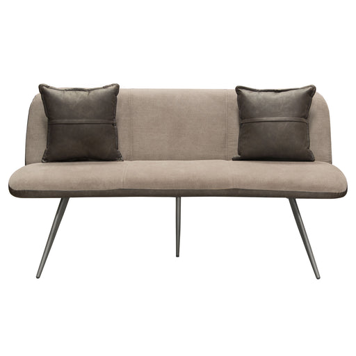 Mona Accent Bench with Coffee Fabric Interior and Coffee Leatherette Exterior with Painted Metal Leg - Coffee