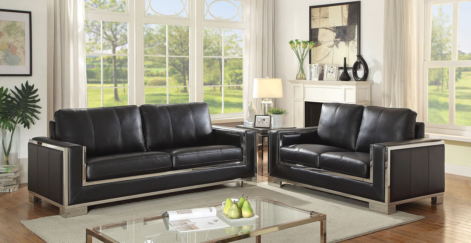 Monika Leather Gel Black/Chrome Contemporary Sofa