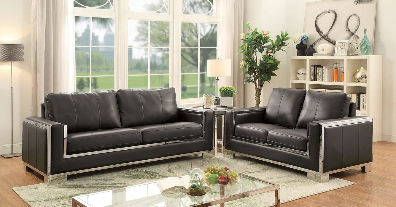 Monika Leather Gel Gray/Chrome Contemporary Sofa
