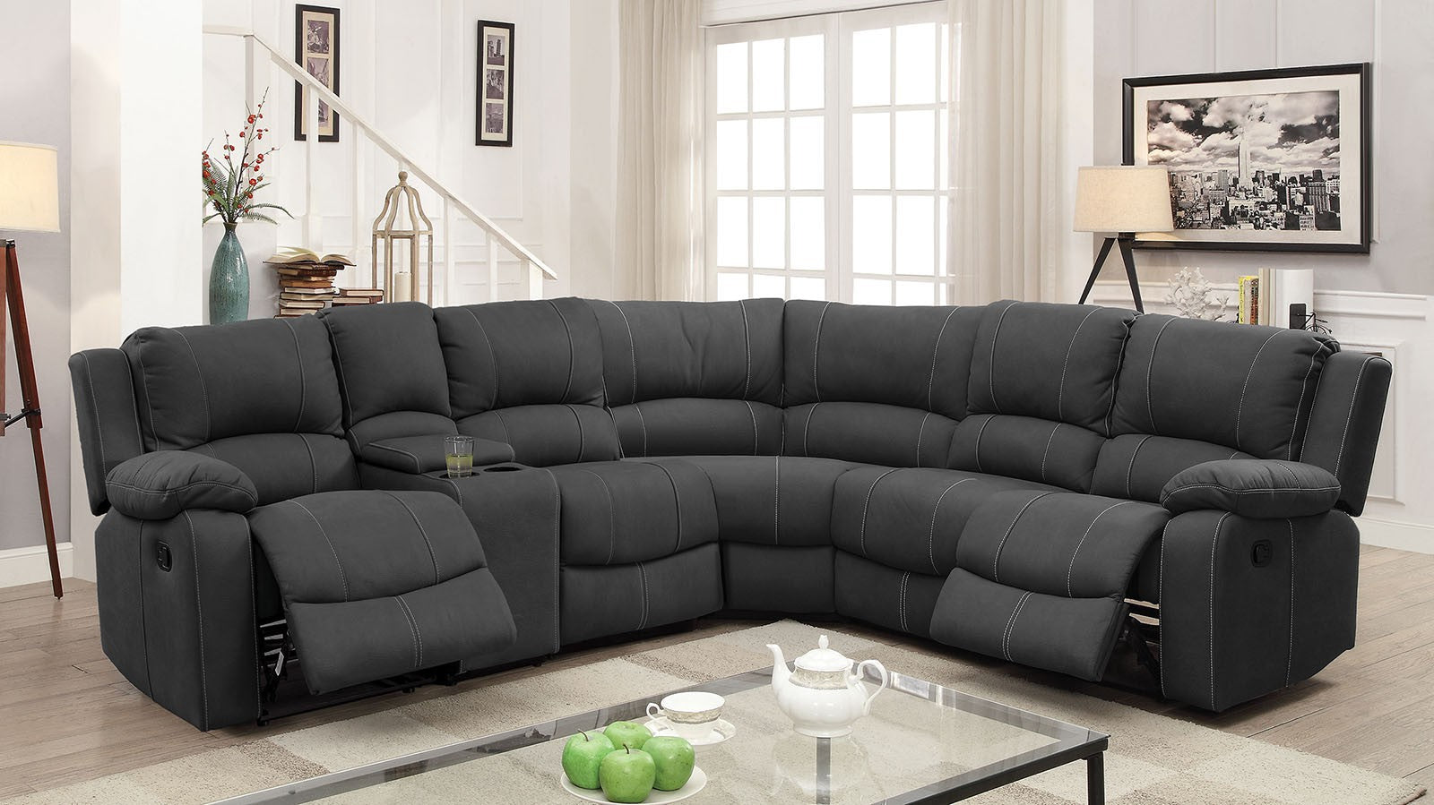 Monique Faux Nubuck Graphite Transitional 2 Recliners, 2 Drop-down Sectional