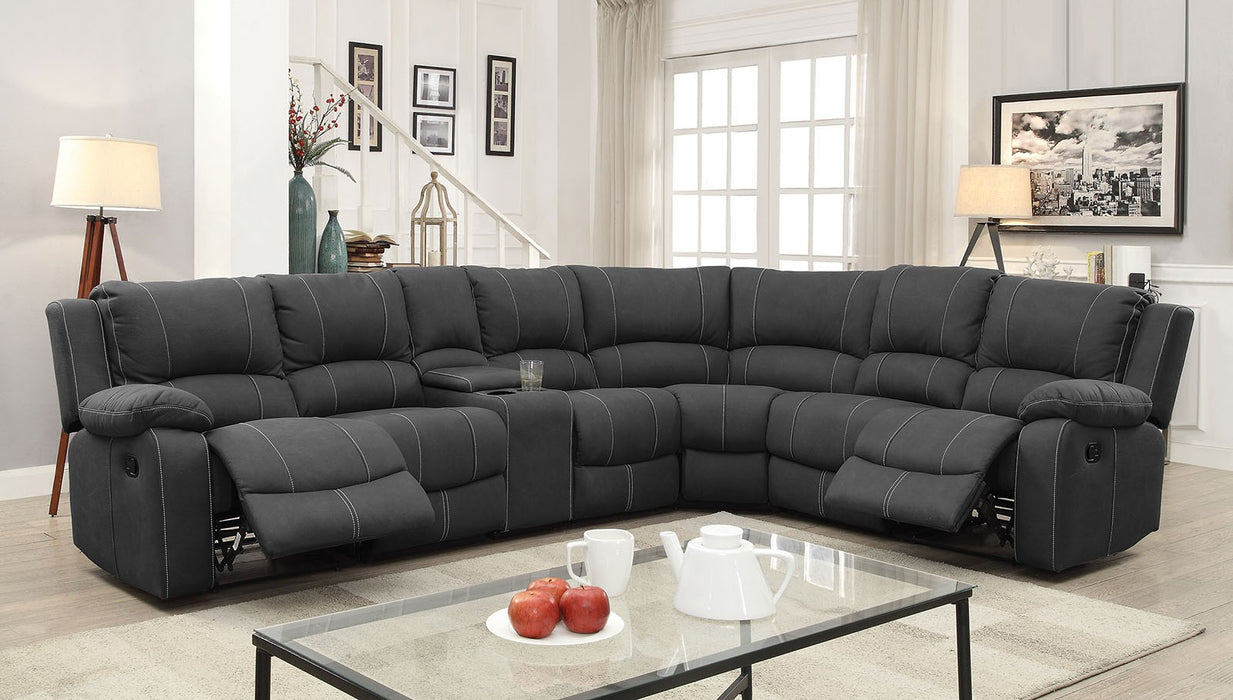 Monique Faux Nubuck Graphite Transitional 2 Recliners, 3 Drop-down Sectional