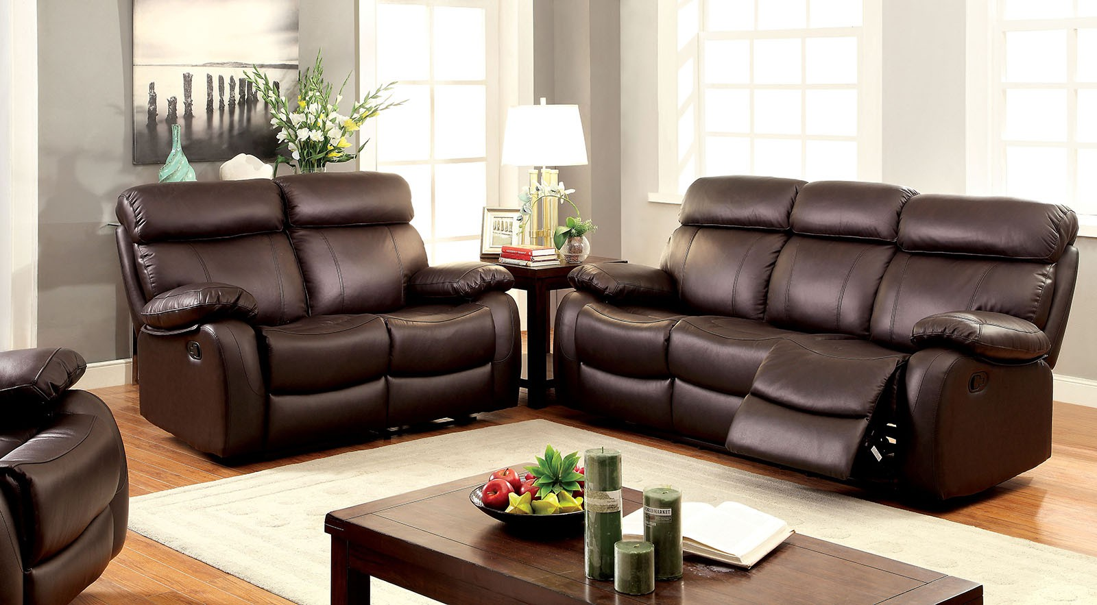 Myrtle Top Grain Leather Match Brown Transitional Sofa
