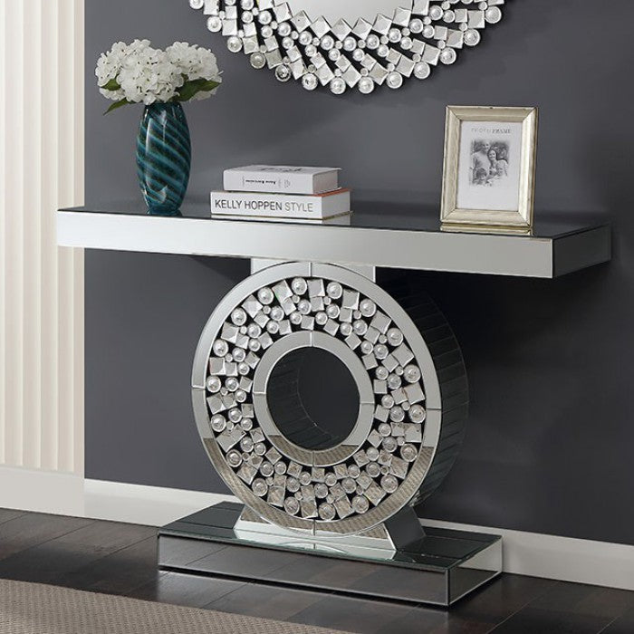Neirin Glass Silver Contemporary Console Table