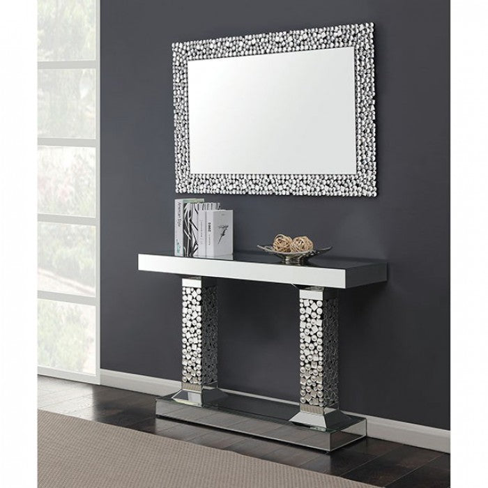 Neirin II Glass Silver Contemporary Console Table