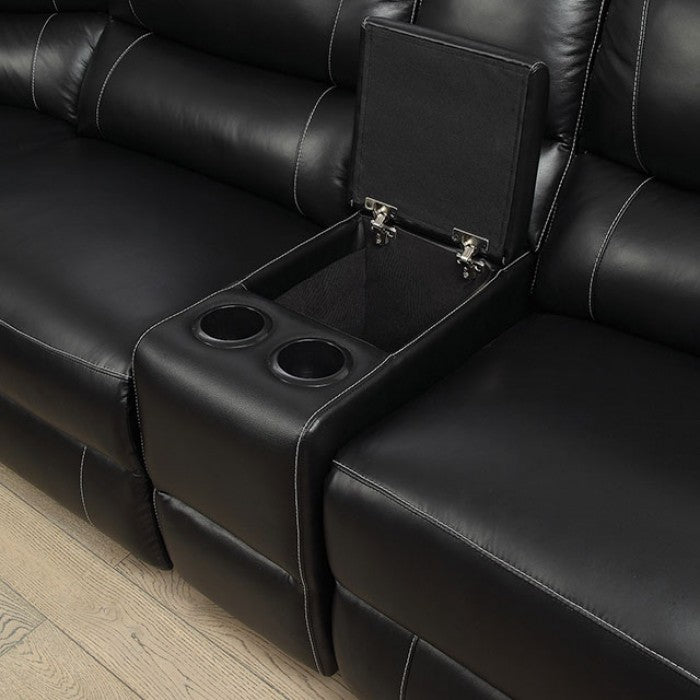 Nena Black Contemporary Leather Recliners Sectional