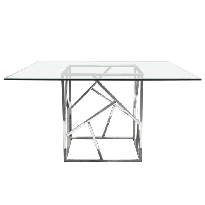 Nest 54 Inch Dining Table With Clear Tempered Glass Top And Polished