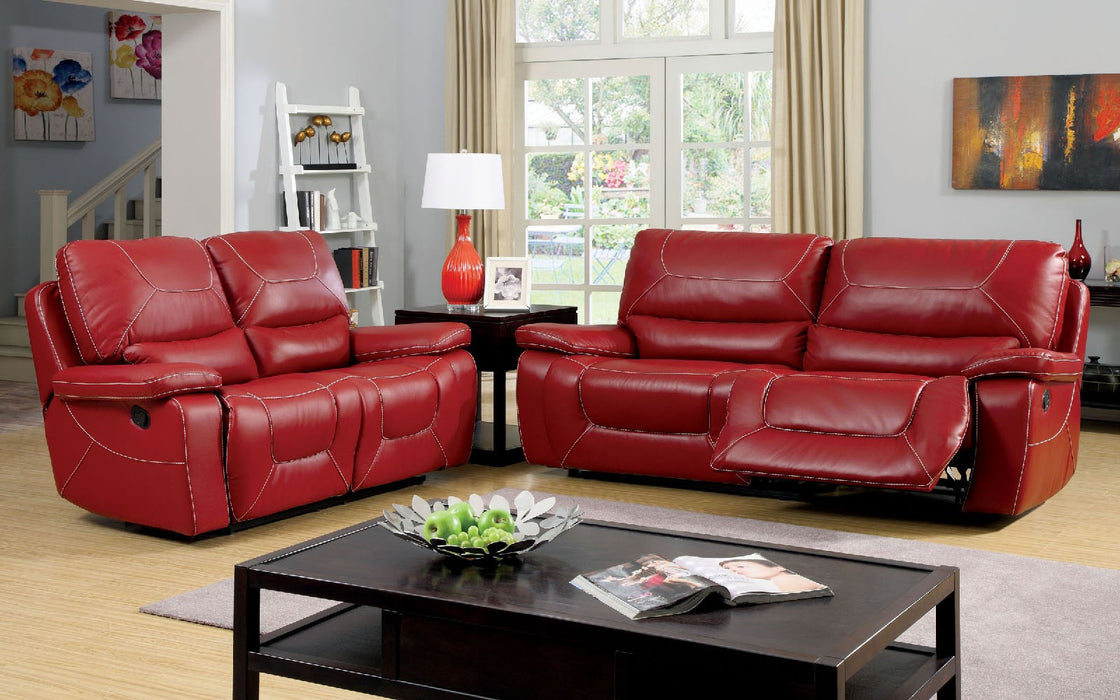 Newburg Bonded Leather Match Red Transitional Sofa