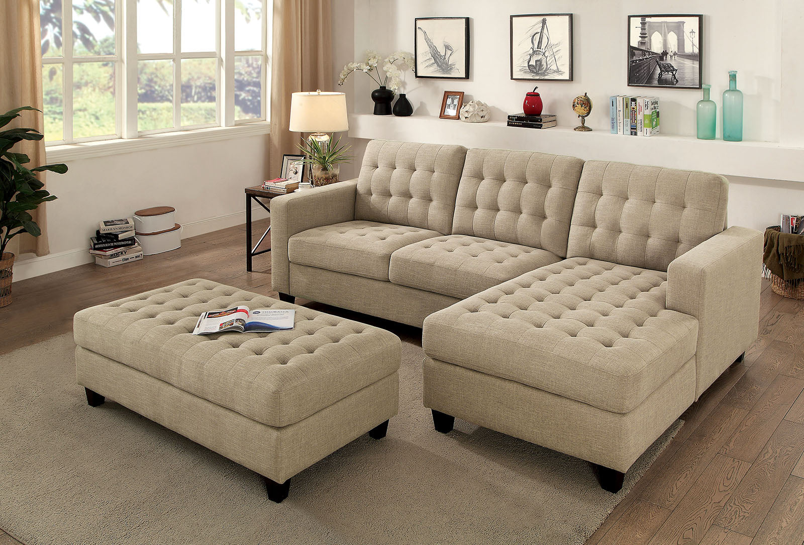 Norma Beige Transitional Linen-like Fabric Sectional