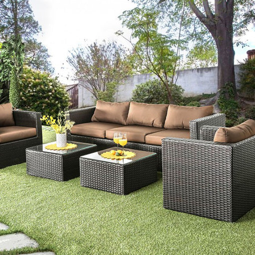 Olina Patio Sofa Set Aluminum Brown/Espresso Contemporary Sofa