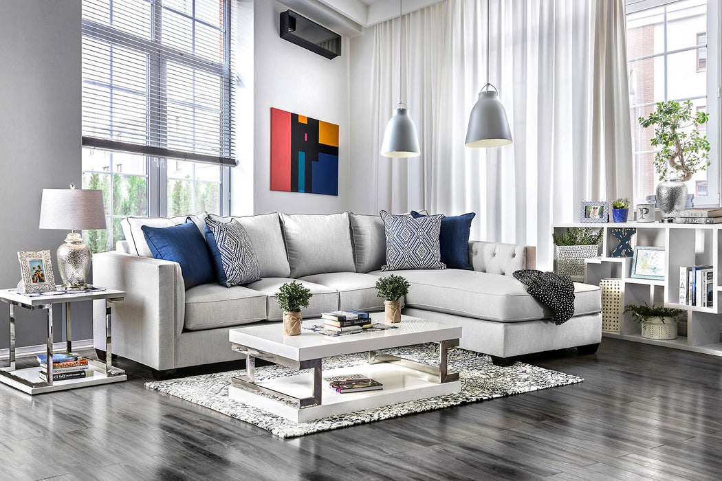 Ornella Light Gray Transitional Fabric Wooden Legs Sectional