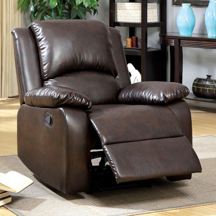 Oxford Leatherette Rustic Dark Brown Transitional Recliner