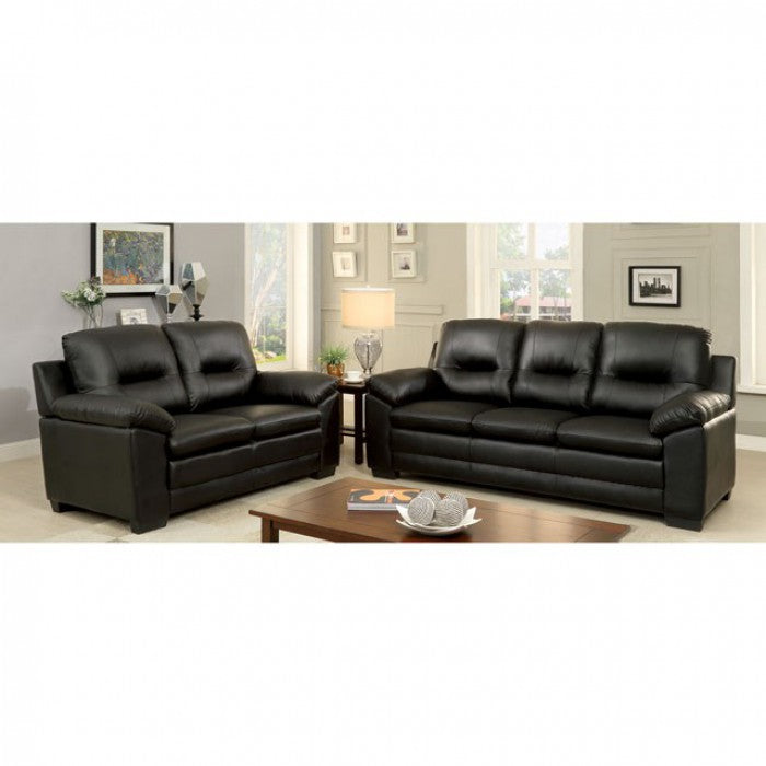 Parma Leatherette Black Contemporary Sofa