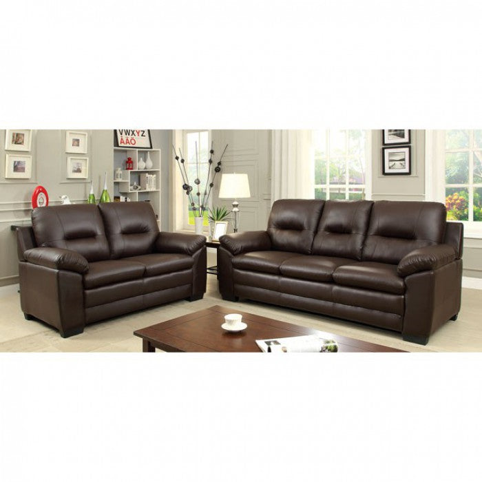 Parma Leatherette Brown Contemporary Sofa