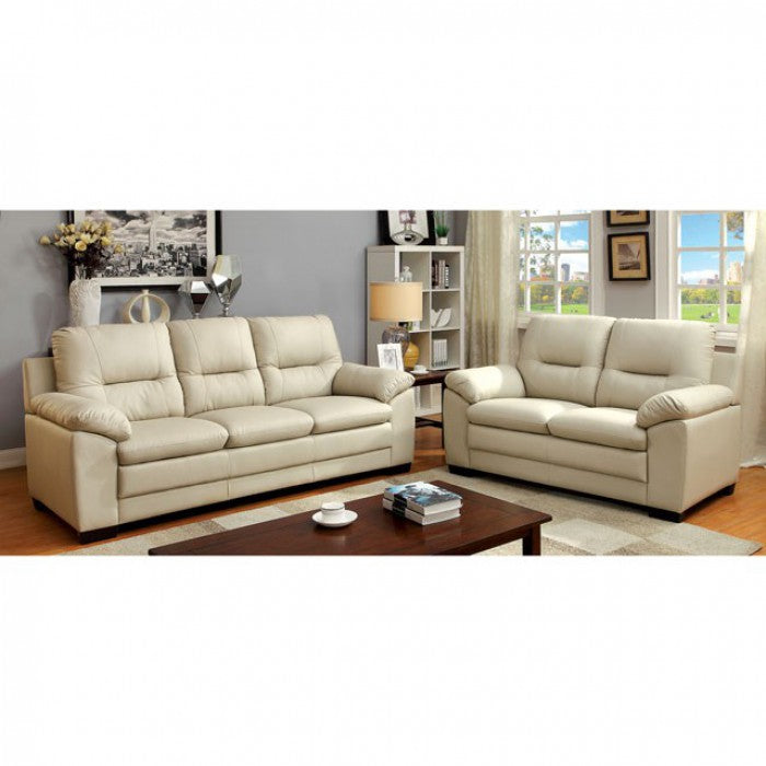 Parma Leatherette Ivory Contemporary Sofa