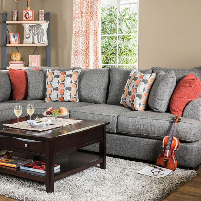 Pennington Gray/Orange Transitional Espresso Sectional