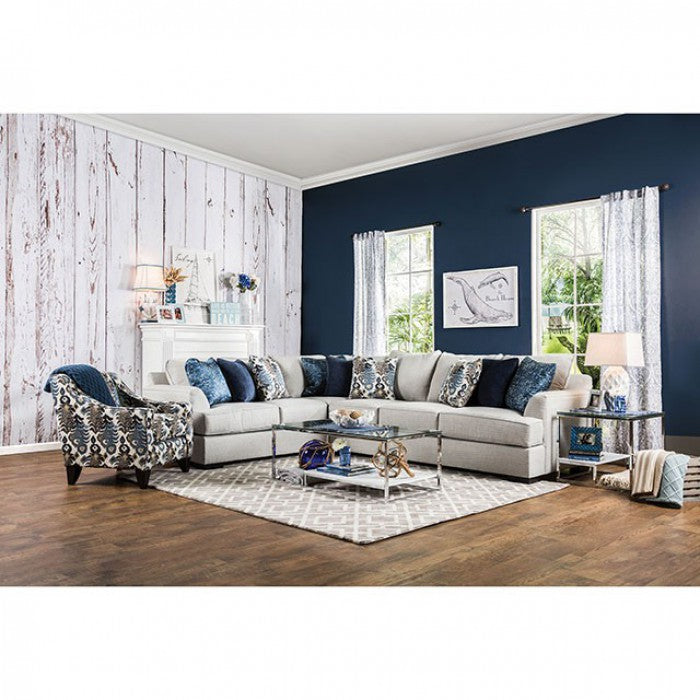 Pennington Light Gray/Blue Transitional Espresso Sectional