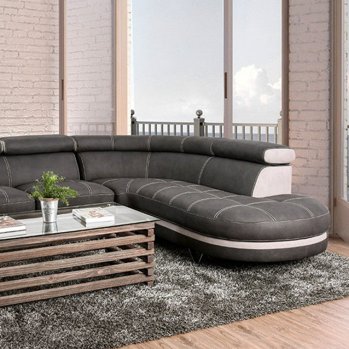 Picard Graphite/Beige Contemporary Nabuk Fabric Sectional