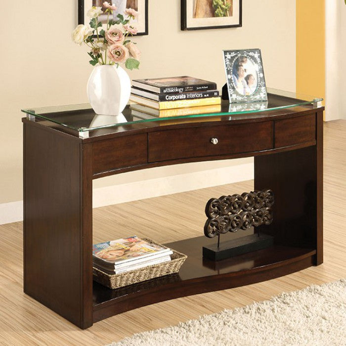 Pierce Tempered Glass Brown Cherry Transitional Sofa Table Sofa Shack