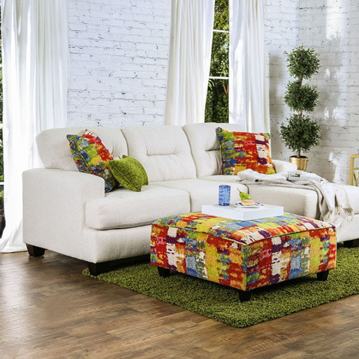 Pollock Ivory Contemporary Revolution Fabric Reversible Chaise Sectional