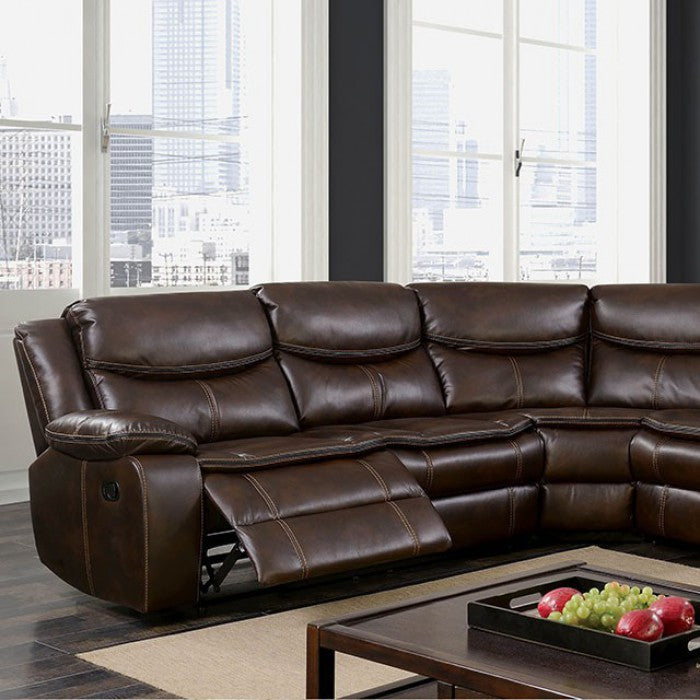 Pollux Brown Transitional Leatherette Recliner Sectional