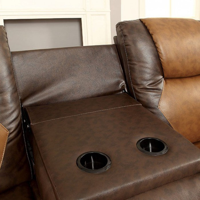 Pollux Leatherette Brown Transitional Sofa