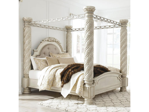 Signature Design Cassimore Wood Traditional Poster Bed With Canopy