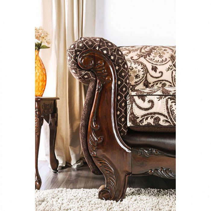 Quirino Leatherette Light Brown/Dark Brown Traditional Sofa